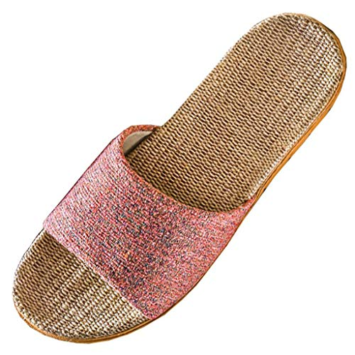 (Sherostore ♡ Womens Cozy Indoor Cotton Flax Home Slippers Non-Slip Casual Sandals Open-Toe Shoes Pink)
