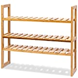 MyEasyShopping Adjustable 3 Bamboo Rack Utility Storage Stand Kitchen Microwave Shelf Holder Baker S Oven 3 Tier Wire Stackable Table Garage Workstation Wide Cart