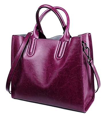 7482b7d7072 Amazon.com: Female Real Leather Tote Handbag Casual Women Genuine ...