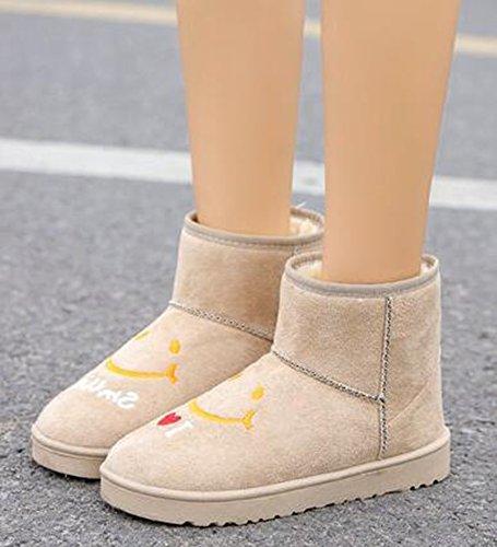Idifu Donna Sorriso Dolce Stampa Flat Felpato Foderato Stivali Da Neve In Camoscio Faux Alta Scarpe Invernali Beige