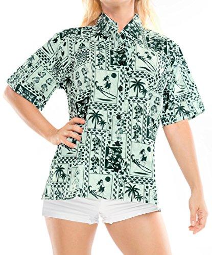 La Leela 100% Cotton Vacation Short Sleeves Sales Blouses Female Outfits Boho Festival Resort Tank Palm Tree Hula Ship Green S