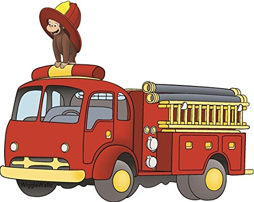 (7 Inch Curious George Firetruck Fireman Monkey Animal Removable Peel Self Stick Adhesive Vinyl Decorative Wall Decal Sticker Art Kids Room Home Decor Girl Boy Children Bedroom Nursery 7 1/2 x 6 inches)
