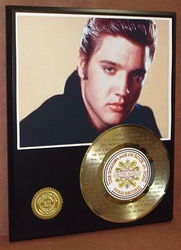 Elvis Presley'Love Me Tender' 24Kt Gold 45 Record LTD Edition Display Laser Etched W/Lyrics Gold Record Outlet