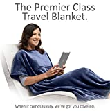 Travelrest 4-in-1 Premier Plus Travel Blanket with Pocket - Covers Shoulders - Plush, Soft and Luxurious - Built-In Stuff Sack (Navy)