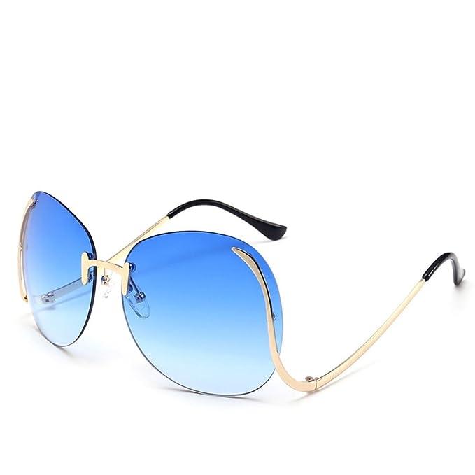 Mode Rahmenlose Sonnenbrille Persönlichkeit Runde Dame Fahren Reise Straße Schnapsgläser,Blue