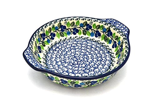 Polish Pottery Baker - Round with Grips - Medium - Blue Berries