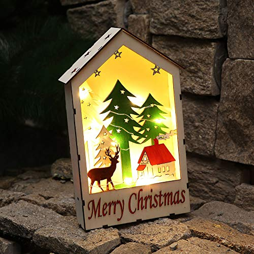 KOTWDQ Christmas Tree Light Sign Decorations Cute Luminous Cabins Gift Creative Christmas Decorations Wood Book Table Decor Christmas Ornaments Home 1822]()