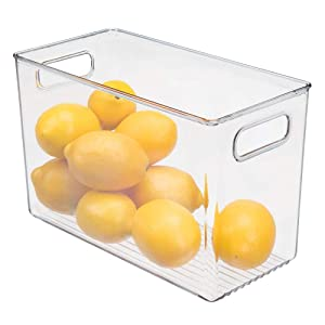 mDesign Plastic Food Storage Container Bin with Handles - for Kitchen, Pantry, Cabinet, Fridge/Freezer - Narrow Organizer for Snacks, Produce, Vegetables, Pasta - BPA Free, Food Safe - Clear