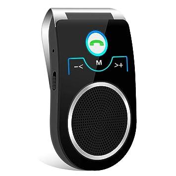 (Updated) Manos Libres para Coche, Altavoz Bluetooth Coche Inalámbrico Kit Adaptador de Coche con Función Manos Libres Receptor Conecta con Siri, ...