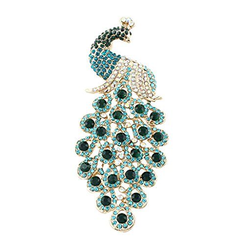 EVER FAITH Austrian Crystal Elegant Peacock Bird Animal Brooch Pendant Blue Emerald Color Gold-Tone