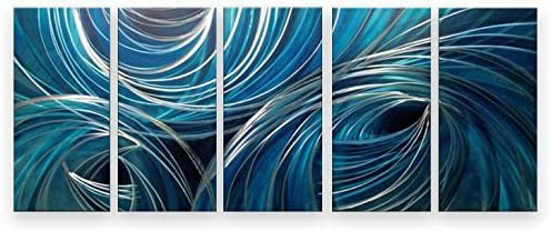 Metal Wall Art Abstract Modern Contemporary Home Decor Large 5 Panels Blue Holes