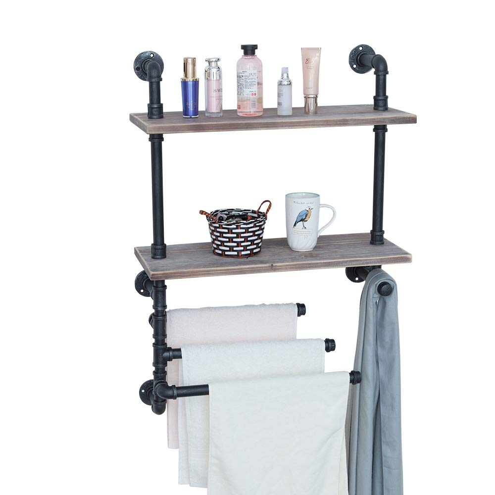 Industrial Towel Rack With 3 Towel Bar 24in Rustic Bathroom Shelves Wall Mounted 2 Tiered Farmhouse Black Pipe Shelving Wood Shelf Metal Floating Shelves Towel Holder Iron Distressed Shelf Over Toilet Buy Online In Guernsey At