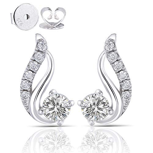 DovEggs 10K White Gold Post 0.5ct Center 4mm H-I Color Moissanite Drop Earrings with Accents Platinum Plated Silver Push Back for Women