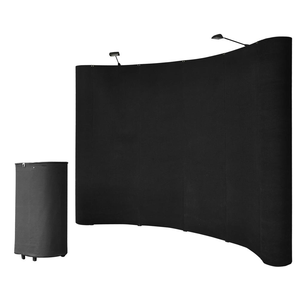 10FT Black Portable Pop Up Display Trade Show Booth Kit with Spotlights Trolley Case Exhibition by Yescom