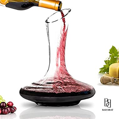 Premium Glass Wine Decanter & Wine Carafe by Bar Brat ™ | Unlocking & Decanting The Flavors of Your Favorite Wine Bottles | Holds 1800 ML Of Wine