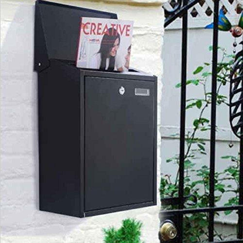 USA Premium Store Black Vertical Lockable Mailbox Wall Mount Galvanized steel W/Door &2 (Large Vertical Mailbox)