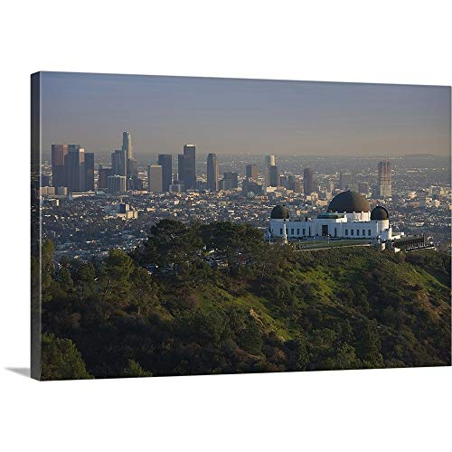 GREATBIGCANVAS Gallery-Wrapped Canvas Entitled Observatory on a Hill Near Downtown, Griffith Park Observatory, Los Angeles, California by ()
