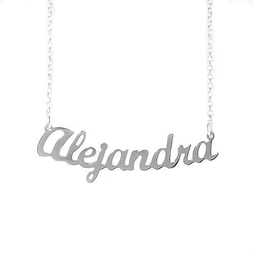 3f1133d9c0f NOMISSIMO Collar con Nombre Alejandra de Plata 925 rodeado ...
