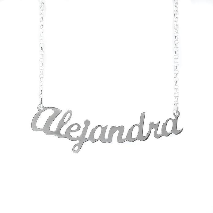 b2b4a33d8888 NOMISSIMO Collar con Nombre Alejandra de Plata 925 rodeado antialérgico  Modelo G10  Amazon.es  Joyería