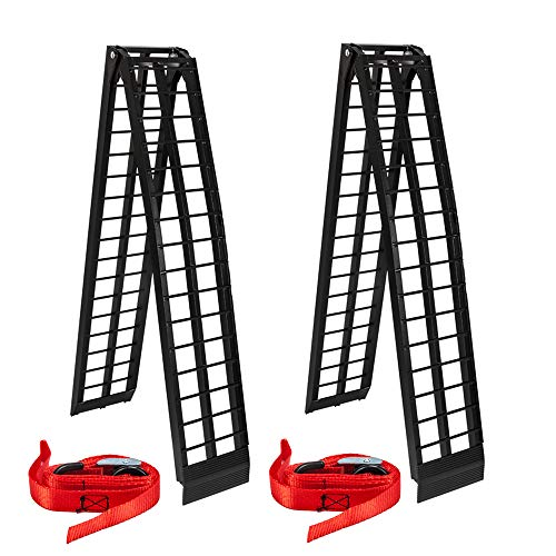 (Black 2Pcs 10 Ft Aluminum Folding Loading Ramps Lawnmower ATV Truck Motorcycle Ramp dirtbike truck)