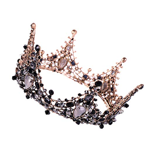 LiPing Luxury Elegant Crown Full Diamond Black Zircon Flower Headwear Headband Ladies Jewelry Size:12×6.5CM (Black)