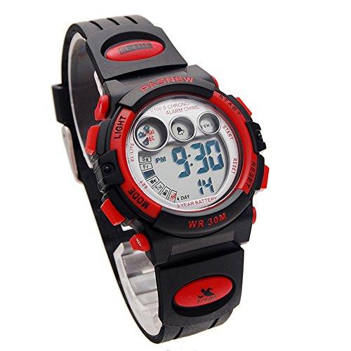 Pasnew watch multifunction(10 styles optional)electronic watch waterproof children student watch(big dark red) Ancient Graffiti Replacement