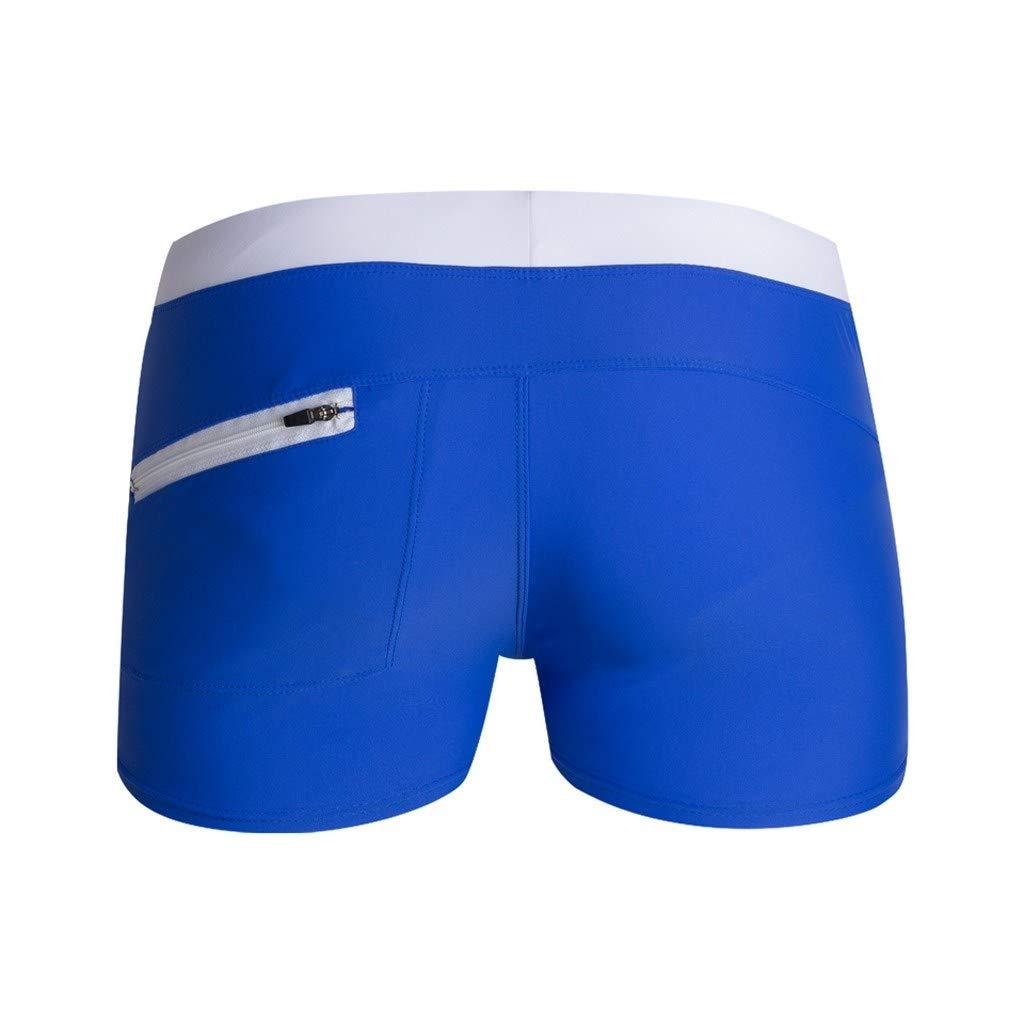 HITRAS Men Breathable Beach Shorts Quick Dry Swim Trunks Elastic Waist with Drawstring Swimsuit Swimwear Blue