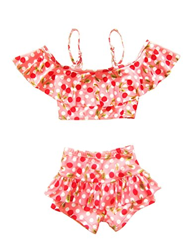 Mallimoda Girl's Two Piece Swimsuit Cherry Pattern Bikini Swimwear Pink 3-4 Years ()