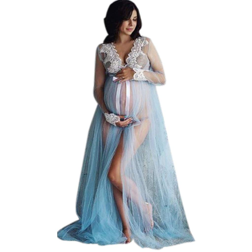 SuperUS Women Lace Maternity Dress Pregnancy Lace Long Maxi Dress Photography Dresses for Photoshoot Blue