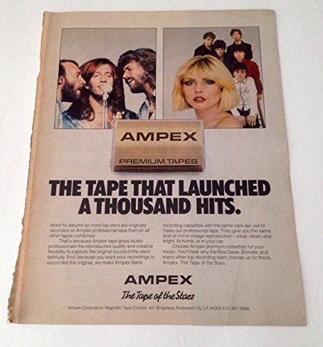 (1980 Bee Gees & Blondie Ampex Tape Magazine Print Advertisement Lot of 3)