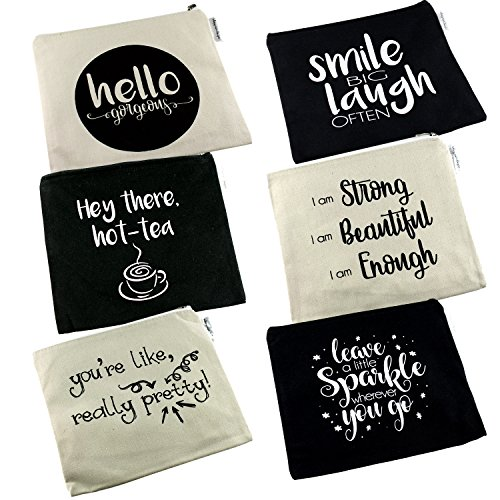 Positive Messages Canvas Cosmetic Bag and Travel Makeup Zipper Pouch Organizer Set For Wedding Bridesmaids or Direct Marketing Gifts 8.5 x 7.5 Inches 6 Pack