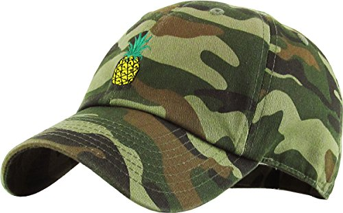 (KBSV-021 CAM Pineapple Dad Hat Baseball Cap Polo Style Adjustable)