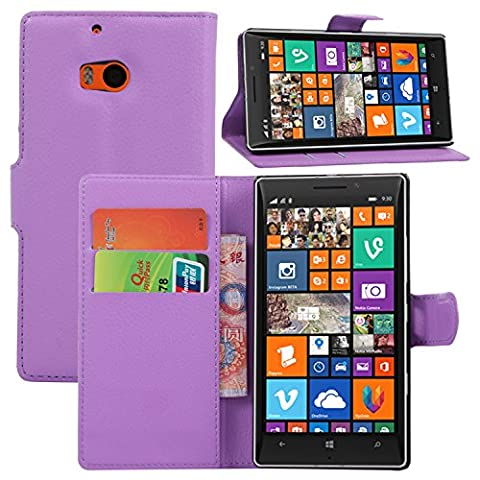 Elfe Boutique Nokia Lumia 930 Leather Case - Litchi Skin Style Wallet Card Pouch Stand Devise Flip Leather Case Cover for Nokia Lumia 930 ( Purple (Nokia Lumia 930 Mobile)