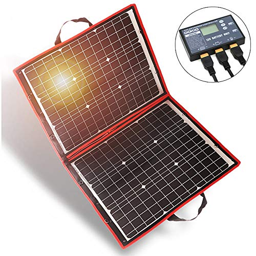 DOKIO 80 Watts 12 Volts Monocrystalline Foldable Solar Panel with Charge Controller ()