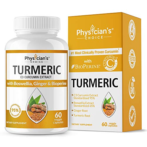 Organic Turmeric Curcumin C3 Complex – Bioperine Black Pepper, Boswellia & Ginger (Clinically Proven C3 Turmeric) 95% Standardized Curcuminoids – Inflammation & Joint Supplement, 60 Capsules