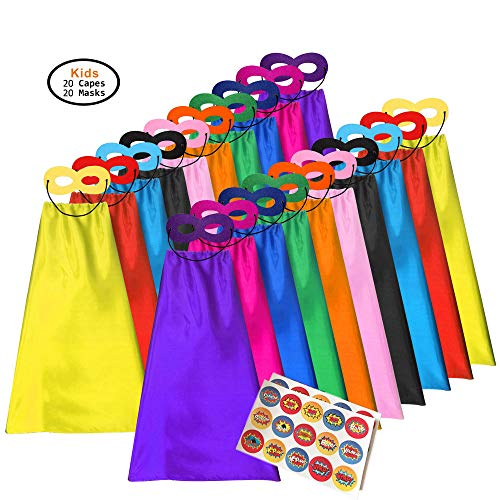 ADJOY Superhero Capes and Masks for Kids - Dress Up Super Hero Costume for Parties - 20sets(40pcs)]()