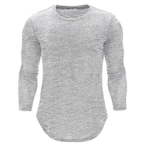 - Sunhusing Strong Men Slim Long Sleeve O Neck T-Shirt Slim Muscle Pullover