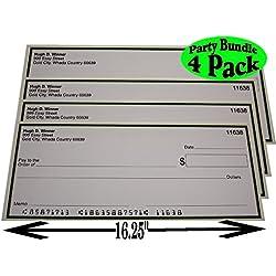 """Casino Night Big Winner Large Fake Checks (16.25"""" X 6.9"""") Party Set Bundle - 4 Pack"""