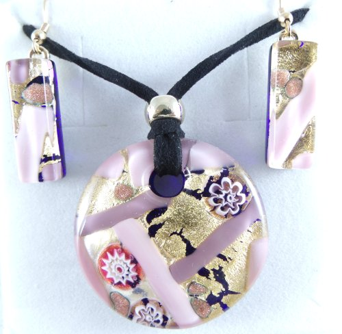 Pink Gold Flowers Circle Murano Glass Jewelry Set