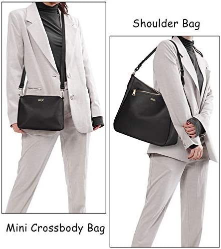 IBFUN Women Leather Shoulder Hobo Handbag Purse Ladies Large Crossbody Bag 2 Pcs Set