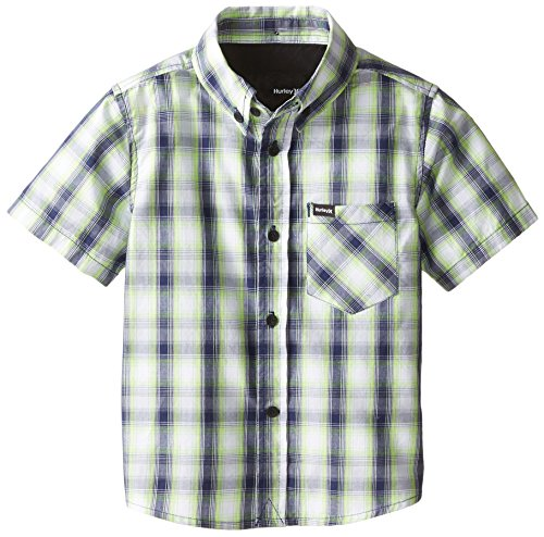 Hurley Little Boys' Locals Only Short Sleeve Woven Top, Flash Lime, 7