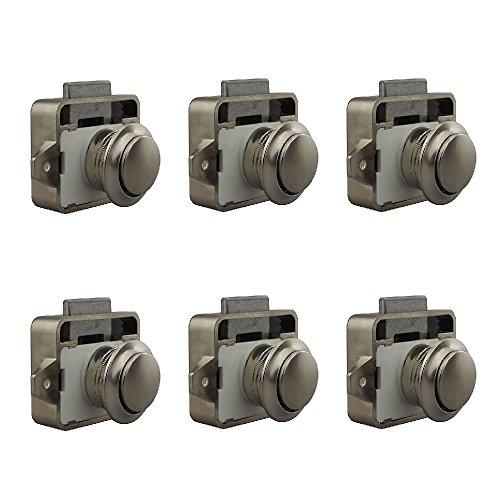 Geekercity Large Push Button Cabinet Latch for Rv/Motor Home Cupboard Caravan Lock for Cupboard Door Push Latch Lock Knob Camper Drawer (6 Pack P02-PN Peal - Motor Pn