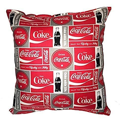 Coca Cola Pillow Coke Pillow 10 inches by 11 inches Handmade Hypoallergenic Cotton with Flannel Backing Ideal for Gift and Multiple ()
