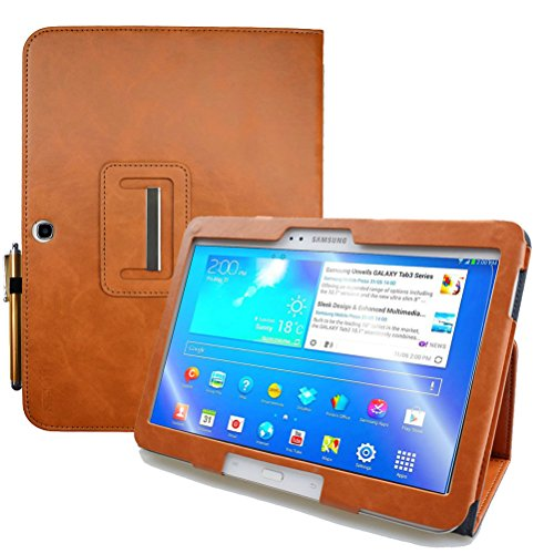 KUESN Samsung Galaxy Tab 4 10.1 SM-T530 T531 Book Cover Case and Tab 3 10.1 GT-P5200 P5210 Tablet Folio Flip Book Cover Case with Magnet Closured (Brown) (Samsung Galaxy Tab 3 Flip Case)