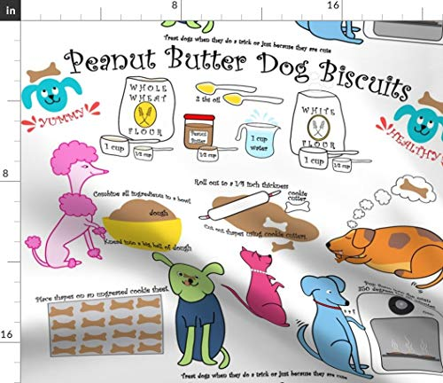 Dog Treats Fabric - Yummy Peanut Butter Biscuits Treat Recipe Recipes Cooking Food Kitchen Poodle Print on Fabric by the Yard - Basketweave Cotton Canvas for Upholstery Home Decor Bottomweight Apparel