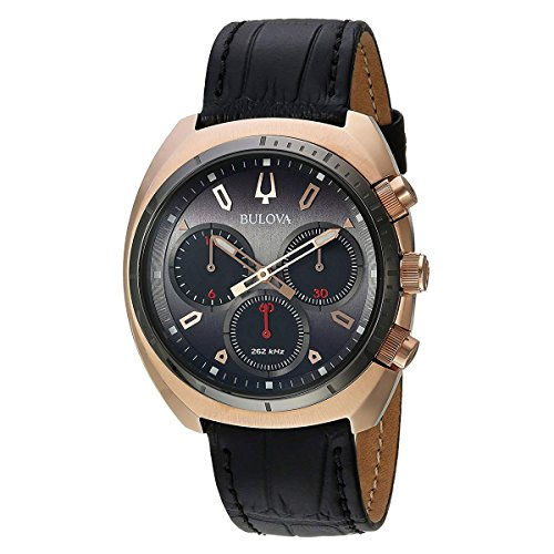 Bulova Men's Curv Collection Stainless Steel Analog-Quartz Watch with Leather-Alligator Strap, Black, 22 (Model: 98A156) ()