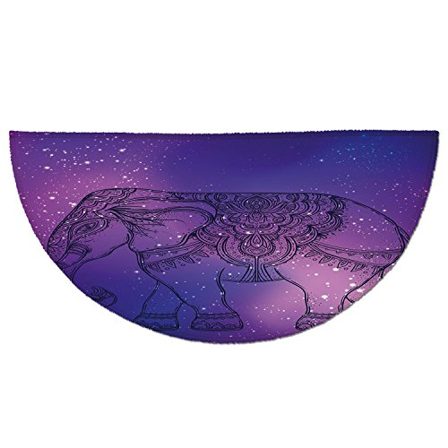 Half Round Door Mat Entrance Rug Floor Mats,Elephant Mandala,Sketchy Hand Drawn Holy Guardian Animal Print in Outer Space Image,Purple and Pink,Garage Entry Carpet Decor for House Patio Grass Water by iPrint