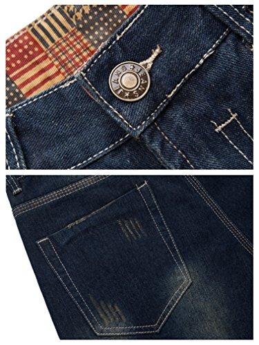 FEESON Men's Straight Leg Slimming Fit Distressed Loose Denim Jeans Dark Blue W30 by FEESON (Image #3)
