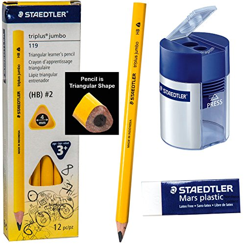 Staedtler Triplus Jumbo 119 Hb #2 Triangular Learners Pencils with Double-hole Tub Pencil Sharpener and Mars Premium Plastic Eraser