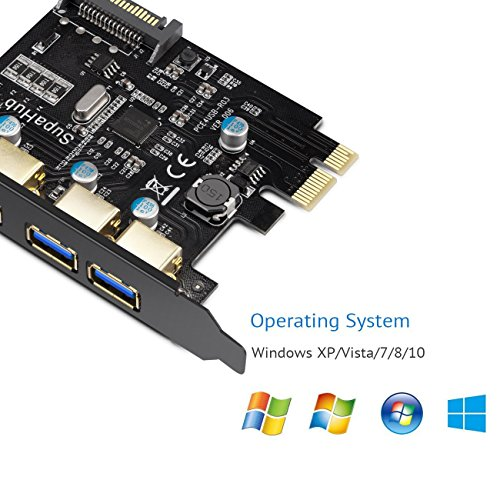 SupaHub PCI-E to USB 3.0 4-Port PCI Express Expansion Card, Windows XP, Vista, 7, 8, 10, Includes Driver and SATA 15-Pin Power Connector,2018 Version by SupaHub (Image #2)